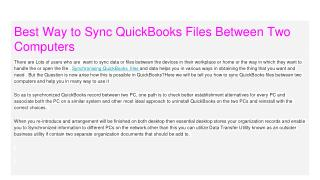 Best Way to Sync QuickBooks Files Between Two Computers