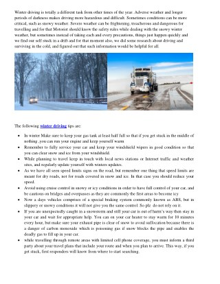 Snow/Winter Driving Safety Tips