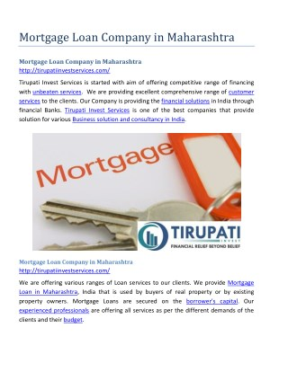 Mortgage Loan Company in Maharashtra