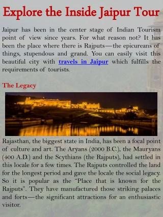 Explore the Inside Jaipur Tour