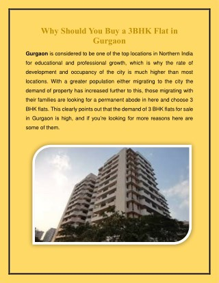 Why Should You Buy a 3BHK Flat in Gurgaon