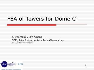 FEA of Towers for Dome C