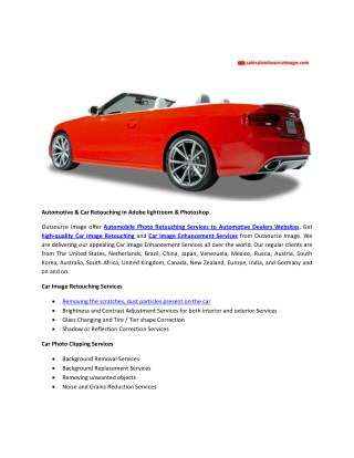 Automotive image enhancement in photoshop and lightroom