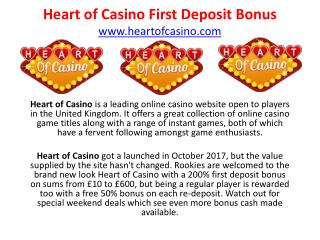 Ppt Heart Of Casino First Deposit Bonus Powerpoint Presentation