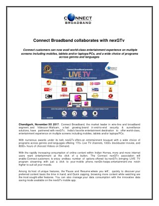 Connect Broadband collaborates withnexGTv