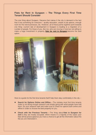 Flats for Rent in Gurgaon – The Things Every First Time Tenant Should Consider