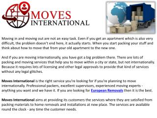 Best European Removals Cost with Moves International