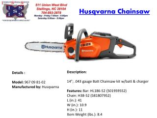 Get best quality MS201 Chainsaw at Interstate Supplies and Services