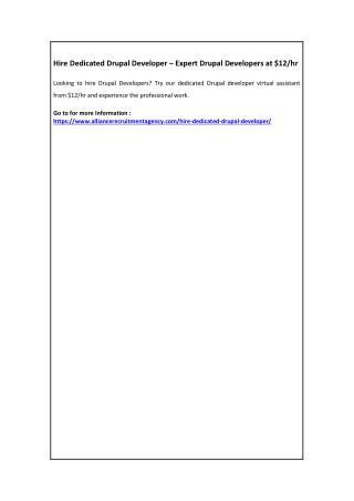 Hire Dedicated Drupal Developer – Expert Drupal Developers at $12/hr