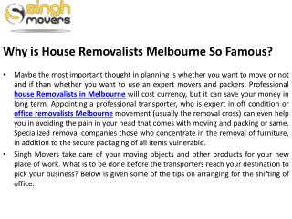 Why is House Removalists Melbourne So Famous