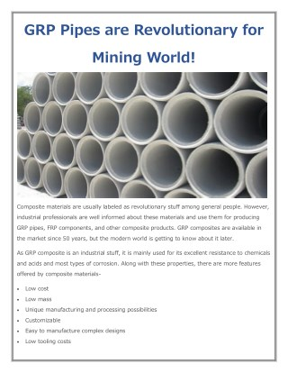 GRP Pipes are Revolutionary for Mining World!