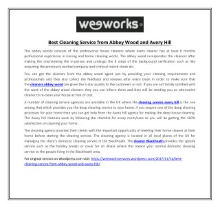 Best Cleaning Service from Abbey Wood and Avery Hill