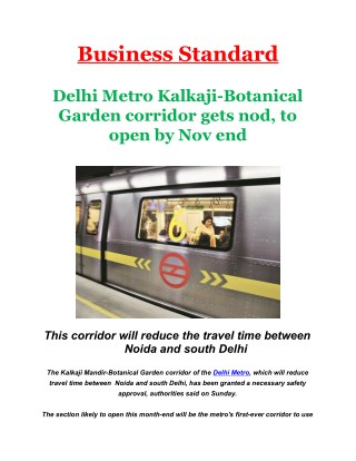Delhi Metro Kalkaji-Botanical Garden corridor gets nod, to open by Nov end