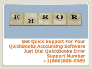QuickBooks Error Phone Support 1-800-880-6389