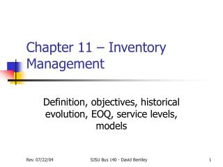 Chapter 11 – Inventory Management