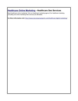 Healthcare Online Marketing - Healthcare Seo Services