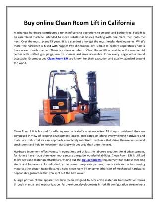 Buy online Clean Room Lift in California