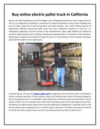 Buy online electric pallet truck in California