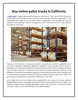 Buy online pallet trucks in California