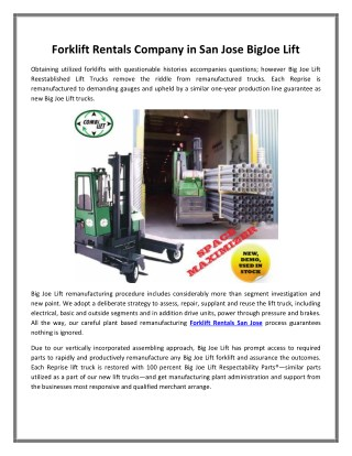 Forklift Rentals Company in San Jose BigJoe Lift