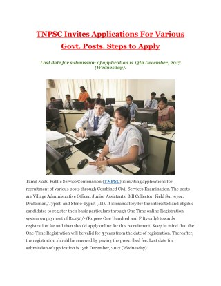TNPSC Invites Applications For Various Govt. Posts. Steps to Apply