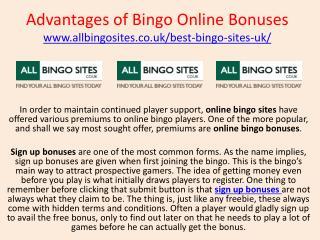 Advantages of Bingo Online Bonuses