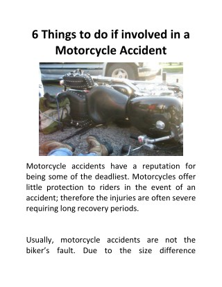 6 Things to Do if Involved in a Motorcycle Accident