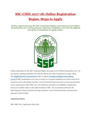 SSC-CHSL 2017-18: Online Registration Begins. Steps to Apply