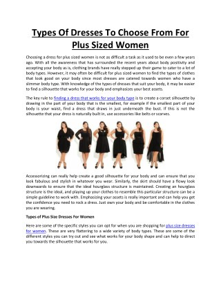 Types Of Dresses To Choose From For Plus Sized Women