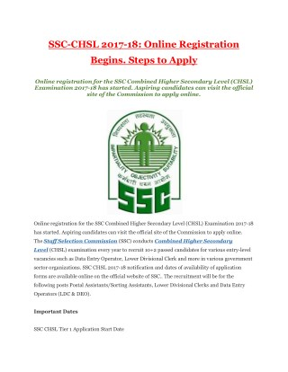 SSC-CHSL 2017-18: Online Registration Begins. Steps to Apply
