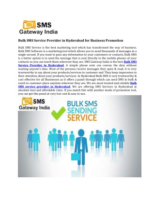 Bulk SMS Service Provider in Hyderabad for Business Promotion