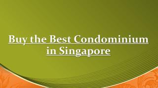 Buy the Best Condominium in Singapore