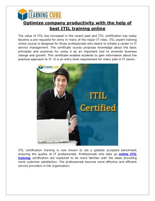 Optimize company productivity with the help of best ITIL training online