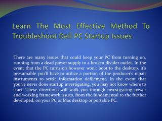 Learn The Most Effective Method To Troubleshoot Dell PC Startup Issues
