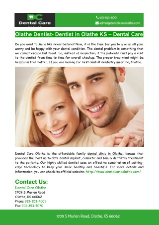 Olathe Dentist- Dentist in Olathe KS- Dental Care Olathe