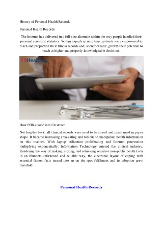 Personal Health Records Software