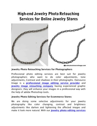 High end jewelry photo retouching services for online jewelry stores