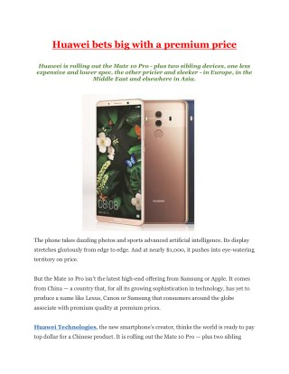 Huawei bets big with a premium price