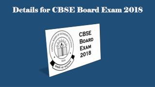 Details of CBSE Board Exam 2018