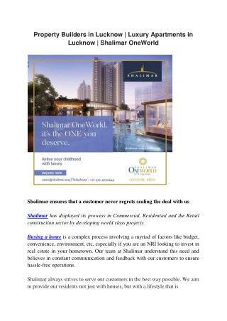 Property Builders in Lucknow | Luxury Apartments in Lucknow | Shalimar OneWorld