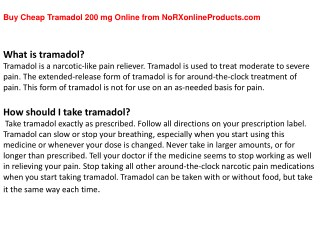 Buy Cheap Tramadol 200 mg Online from NoRXonlineProducts.com