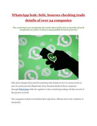 WhatsApp leak: Sebi, bourses checking trade details of over 24 companies