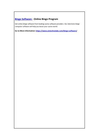 Bingo Software - Online Bingo Program
