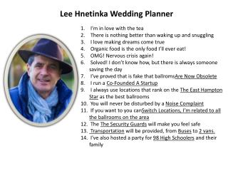 Lee Hnetinka Wedding Planner