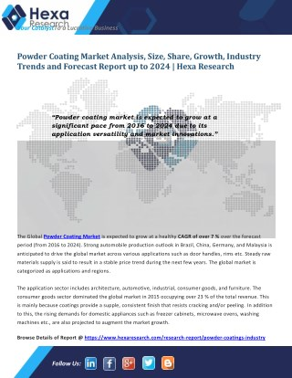 Powder Coating Market Analysis, Size, Application Analysis and Regional Outlook