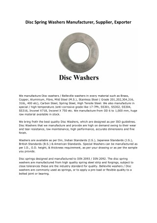 Disc Washers Manufacturers Suppliers Exporters Mumbai India