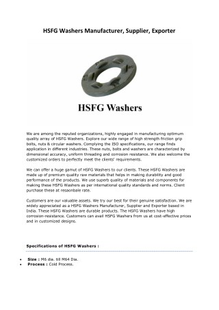 HSFG Washers Manufacturers Suppliers Exporters Mumbai India