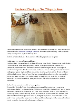 Hardwood Flooring – Five Things to Know