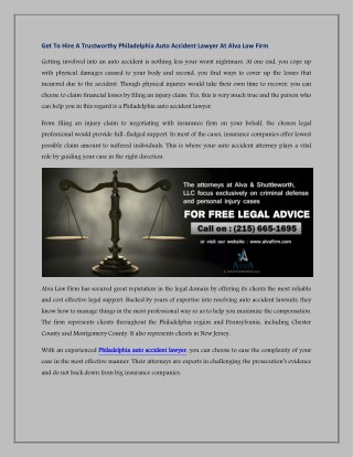 Get To Hire A Trustworthy Philadelphia Auto Accident Lawyer At Alva Law Firm