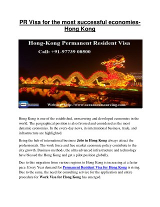 Permanent Resident Visa for Hong Kong